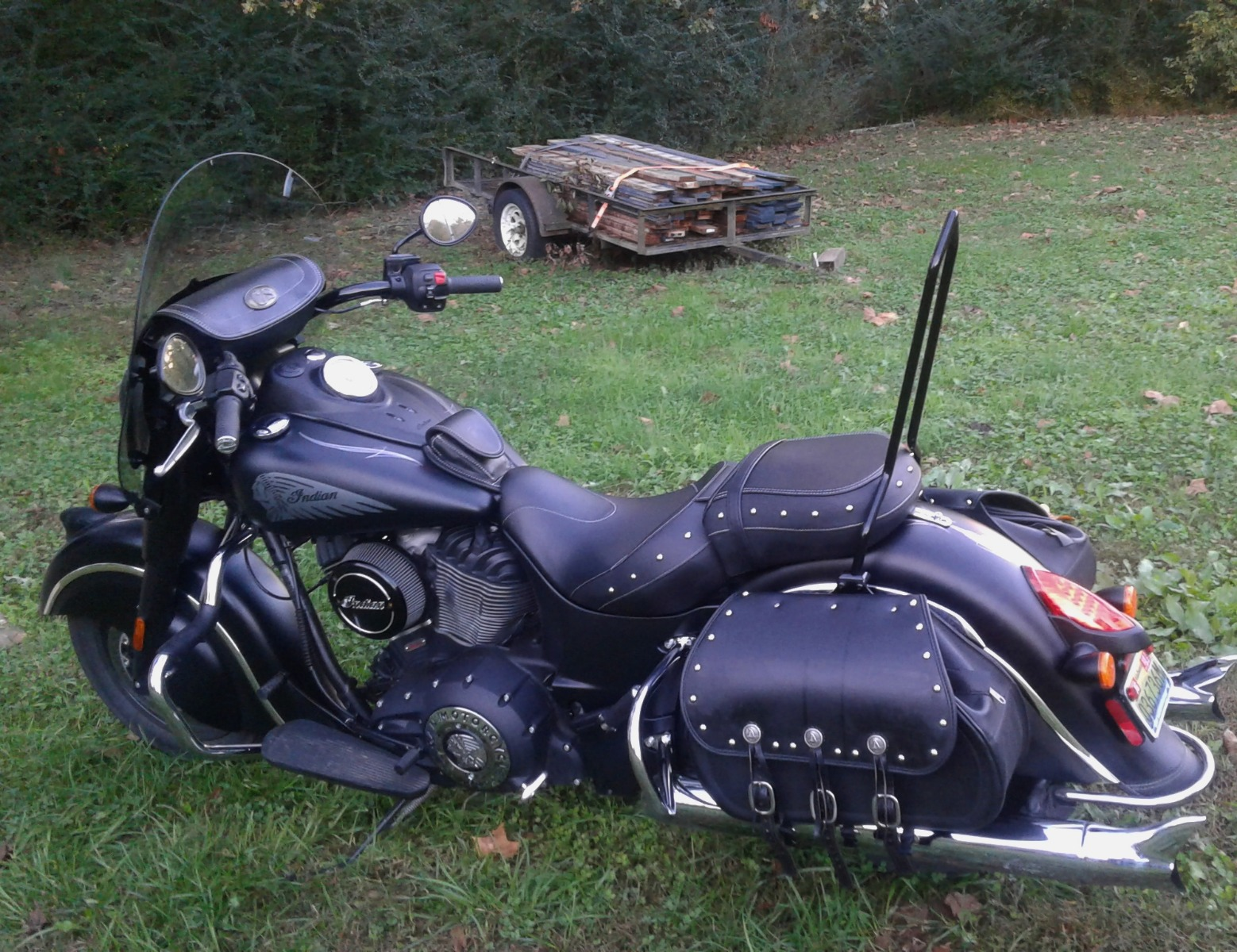Indian Chief Dark Horse with Ginz Choppers sissy bar
